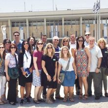 Berrie Fellows convene outside the Knesset